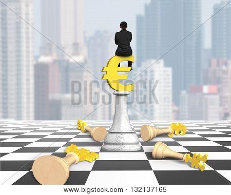 Man Sitting On Euro Symbol Of Money Chess On Chessboard