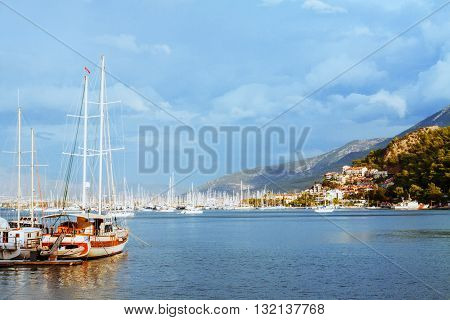 Yachts and boats in the harbor Fethie Turkey