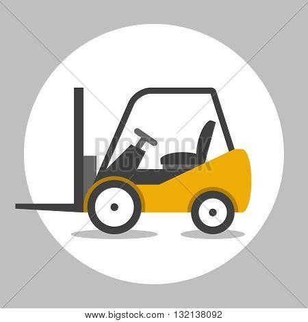 Forklift truck cargo. Loader vector flat icon