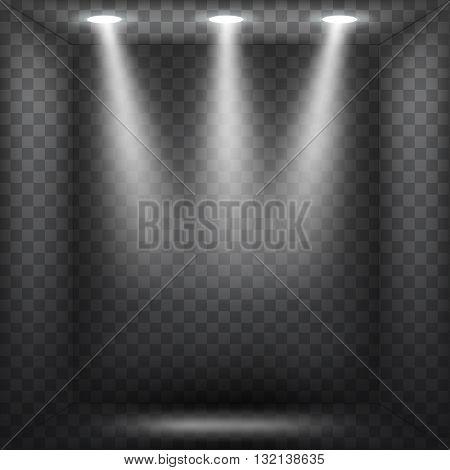Abstract spotlight effect on dark black background. Vector eps10 illustration