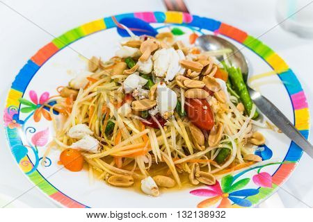 Som Tum or Papaya Salad Papaya Pok Pok Thai Traditional Cuisine