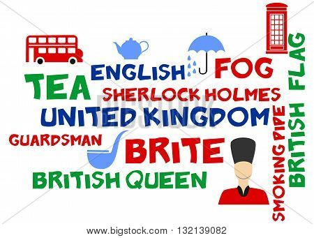 illustration in style of flat design n the theme of Great Britain.