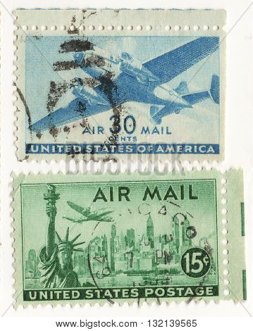 USA CIRCO 1960 set of postage stamps on the theme United States USA Airmail