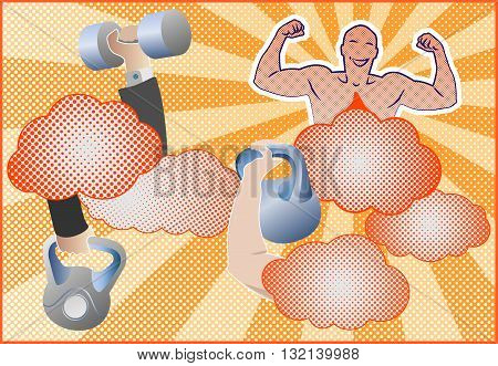 Fitness equipment with fitness mascot. Hands holding fitness equipment. Barbells, dumbbells and kettlebells. Design for banner, poster, brochure and background. Pop art style. Vector illustration.