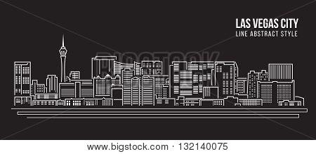 Cityscape Building Line art Vector Illustration design - Las Vegas city