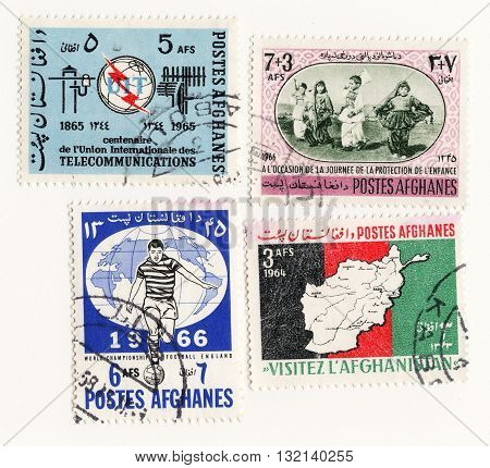 Afghanes circo 1965 set postage stamps of Afghanistan Airmail Post