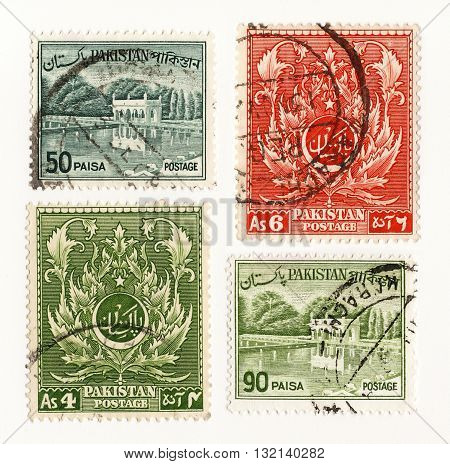 Pakistan circo 1960 set postage stamps of Pakistan Airmail Post