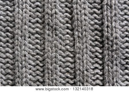 Abstract Gray Knitting Texture Close-up.