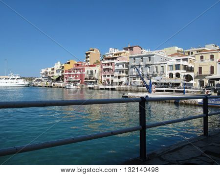 Agios Nikolaos-One of the Most Highly Developed Tourist Towns in Greece, Crete  / Touristic Destination Agios Nikolaos on Crete Island in Greece