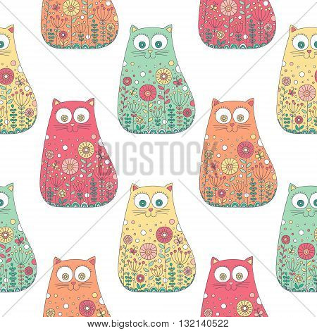 Cute doodle cats. Vector seamless pattern with hand drawn doodle cats. Colorful cats with floral ornament. Fun background for children. Pastel colors.