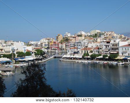Port Town Agios Nikolaos , Gulf of Mirabello, Lashiti, Crete, Greece / View of Lake Voulismeni in Port Town Agios Nikolaos