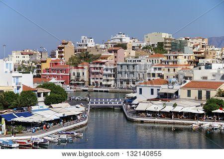View of Agios Nikolaos, Crete, Greece / A Resort Town on the North Coast of Crete