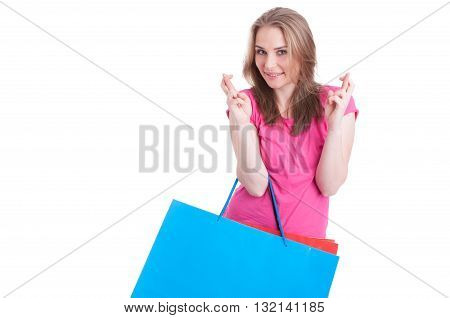 Cheerful Woman Making Wish And Luck Sign With Both Hands