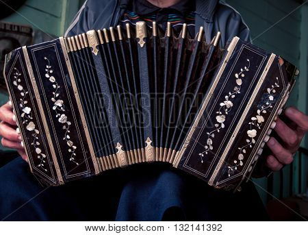 A man playing the accordion in Buenos Aires