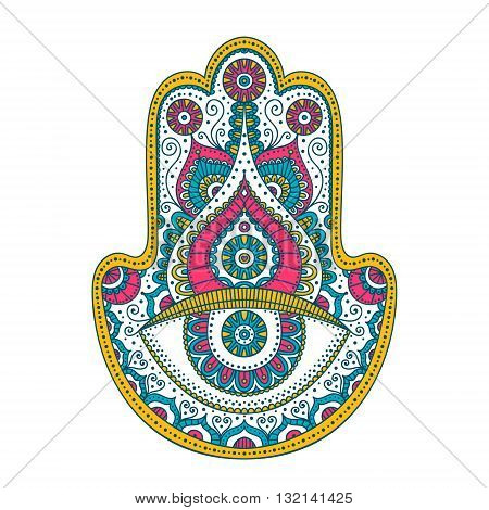 Doodle hamsa. Vector hand drawn hamsa with doodle ornament. Hand of Fatima. Amulet with ethnic design. Isolated. Pink yellow and blue colors.