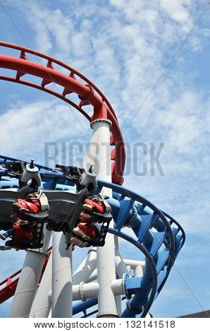 SINGAPORE - MAY 29 2016: Roller coaster in Universal Studios Singapore at Singapore Resorts World Sentosa