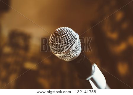 Photo of the dynamic microphone in the bar. Object photo.