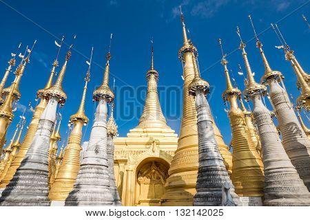 The Indein village Pagoda Inle Lake Myanmar