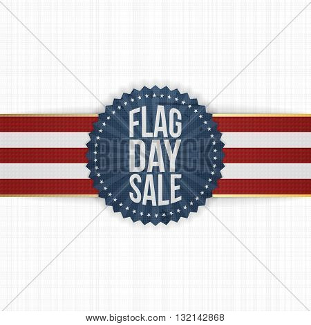 Flag Day Sale greeting Badge with Ribbon and Shadow. Vector Illustration
