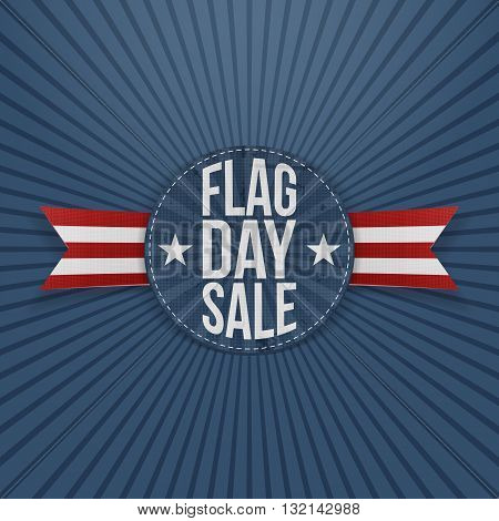 Flag Day Sale greeting Label with Text and Shadow. Vector Illustration
