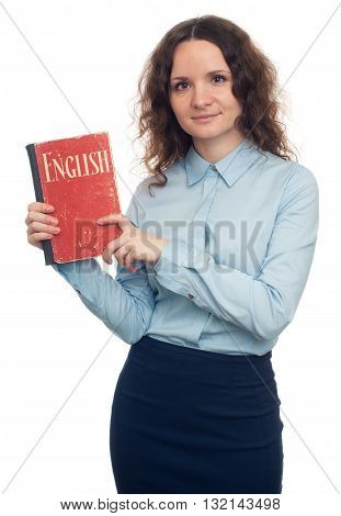 Pretty Girl Showing English Textbook. Isolated