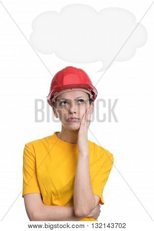 girl in red hard helmet daydreaming isolated on white background