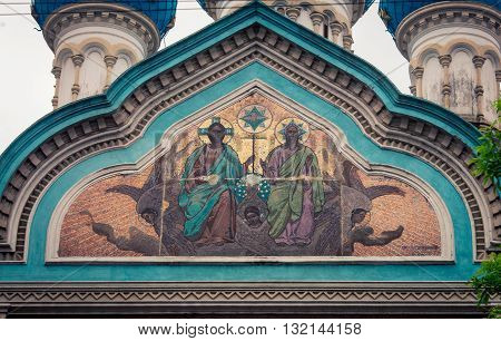 Religious frescoes  on the russian orthodox in buenos aires