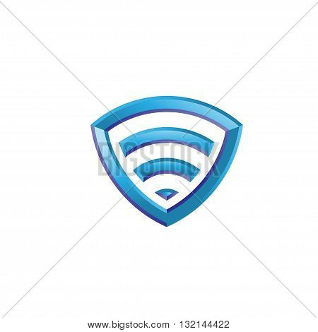 Wi-Fi isometric Icon shield 3d vector concept