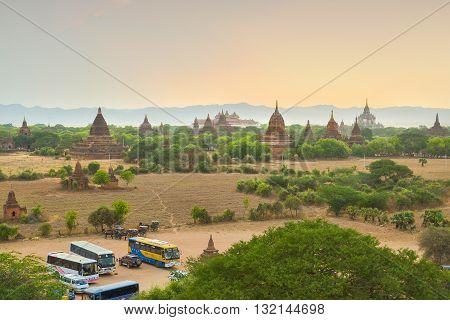 Bagan, Myanmar - April 22 2016 : Group of ancient pagodas in Bagan at Sunset
