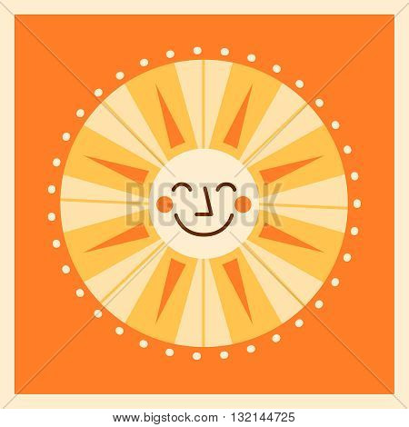 Smiling cute sun in retro colors on background