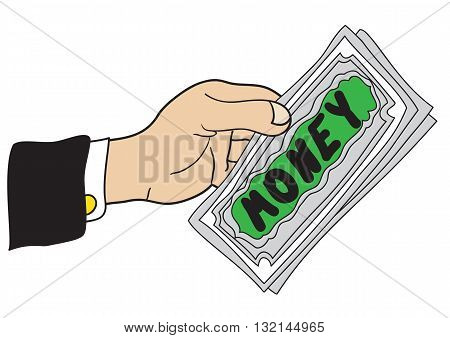Illustration cartoon hand with a few banknotes with the inscription Money