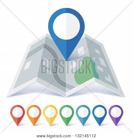 Vector flat map marker symbols colors set with preview on city map