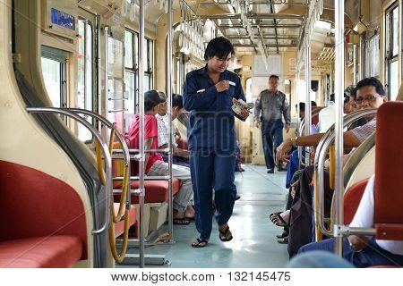 Yangon Myanmar - April 25 2016 : inside Yangon Tram. begun service on 11 January 2016 using a single 50-year old tram from Hiroshima Japan