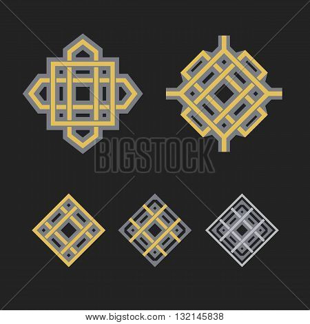 Asian ornaments. Vector arabic geometric symbols set