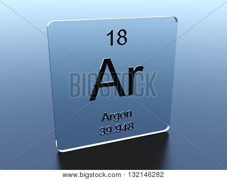 Argon symbol on a blue glass square 3D render