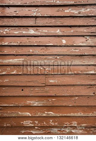Brown Paint Peeling on Wooden Siding vertical image