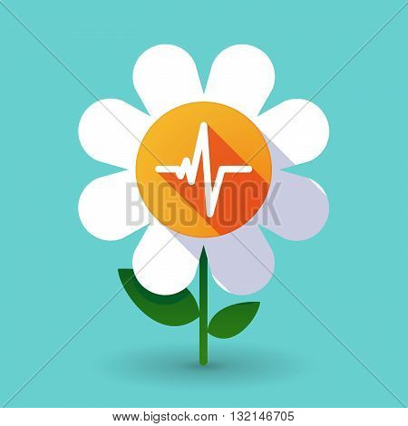 Vector Flower With A Heart Beat Sign