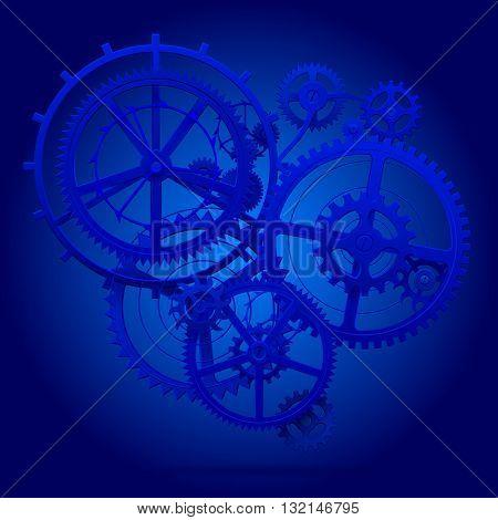 Blue gear wheels of clockwork in blue light. Techno background