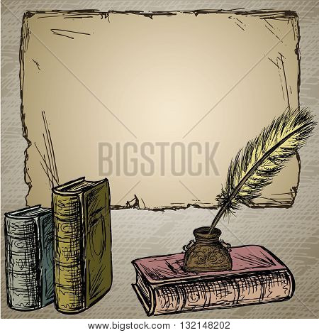 Goose feather elegant old-fashioned decorative inkpot old paper for inscription.Old book. Vintage background. Hand drawn vector