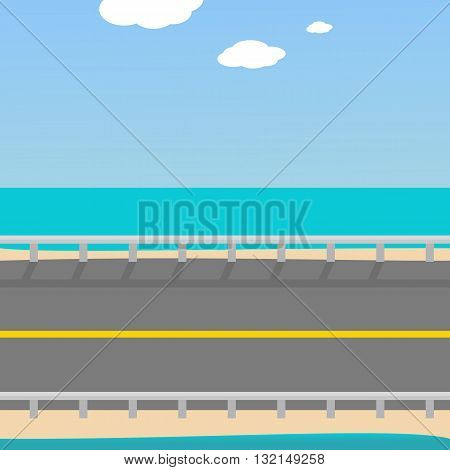 Background for the game Road to the beach, separated by layers of sky, road and sea