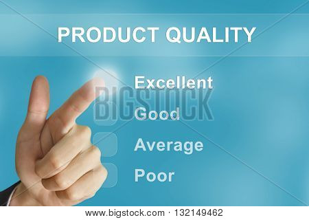 business hand clicking product quality button on screen