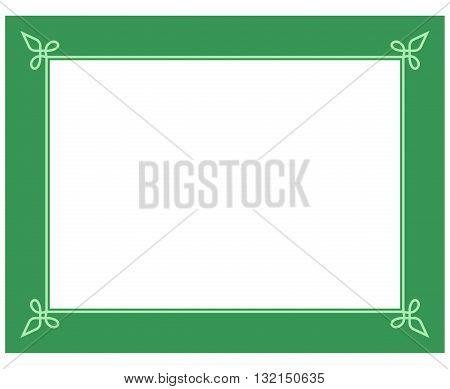 Simple Green Vector Line Border Frame Isolated Illustration