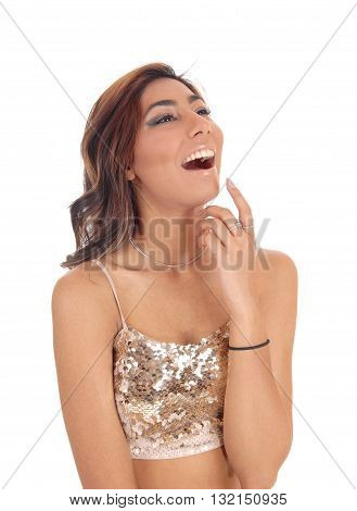 A lovely young woman in a short top with curly brown hair laughing whit her mouth open isolated for white background.