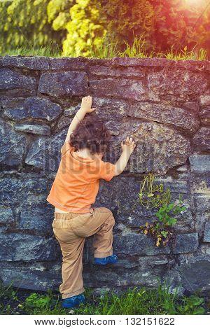 The Little Boy Climbs The Fence.