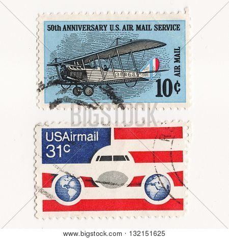USA Circo 1960 set postage stams 50th Anniversary US Air Mail Service