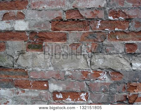 Ordinary red brick work, old wall .