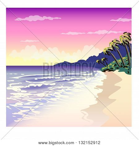 vector illustration of a tropical beach with palm trees
