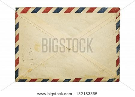 Old vintage envelope isolated on white background with copy space