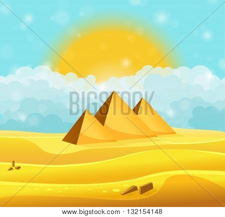 Cartoon Egyptian Pyramids In The Desert With Clear Cyan Cloudy Sky. Vector Illustration