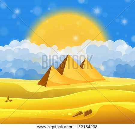 Cartoon Egyptian Pyramids In The Desert With Blue Cloudy Sky. Vector Illustration
